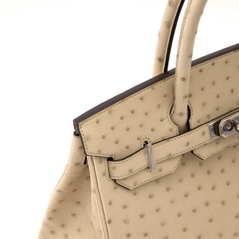a85b298e4f7 Women s or Men s Never Used Hermes Birkin 30cm Parchemin Ostrich PHW For  Sale