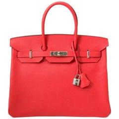 * Nie benutzt * Hermès Birkin 35 Bittersalz Rose Jaipur PHW Handtasche