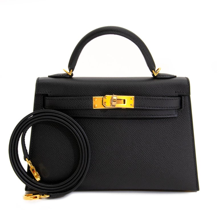 *NEVER USED* Hermes Kelly 20 Mini II 20cm Black Epsom GHW In New Condition For Sale In Antwerp, BE