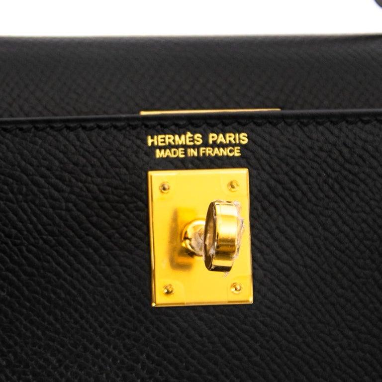 Women's or Men's *NEVER USED* Hermes Kelly 20 Mini II 20cm Black Epsom GHW For Sale