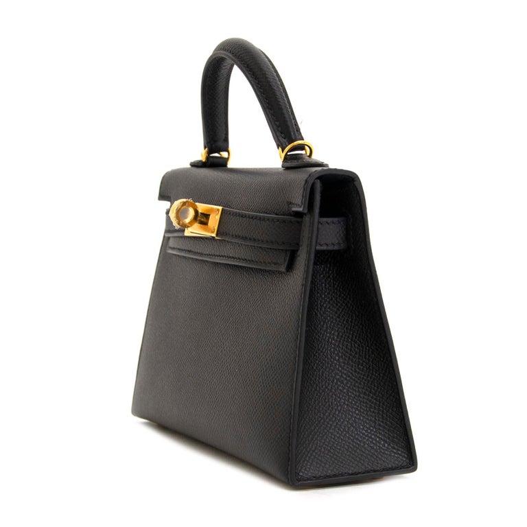 *NEVER USED* Hermes Kelly 20 Mini II 20cm Black Epsom GHW For Sale 1