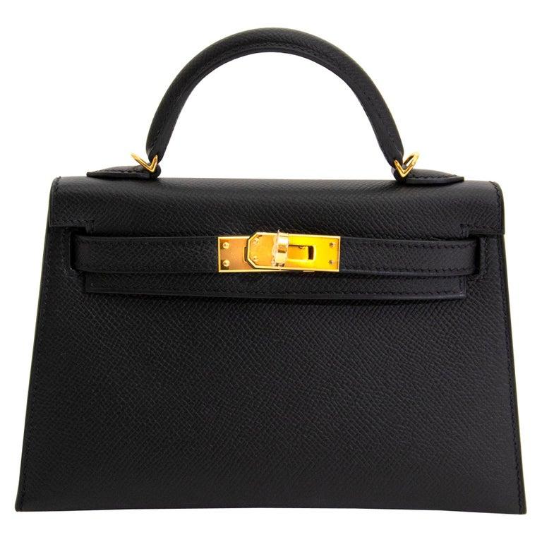 *NEVER USED* Hermes Kelly 20 Mini II 20cm Black Epsom GHW For Sale