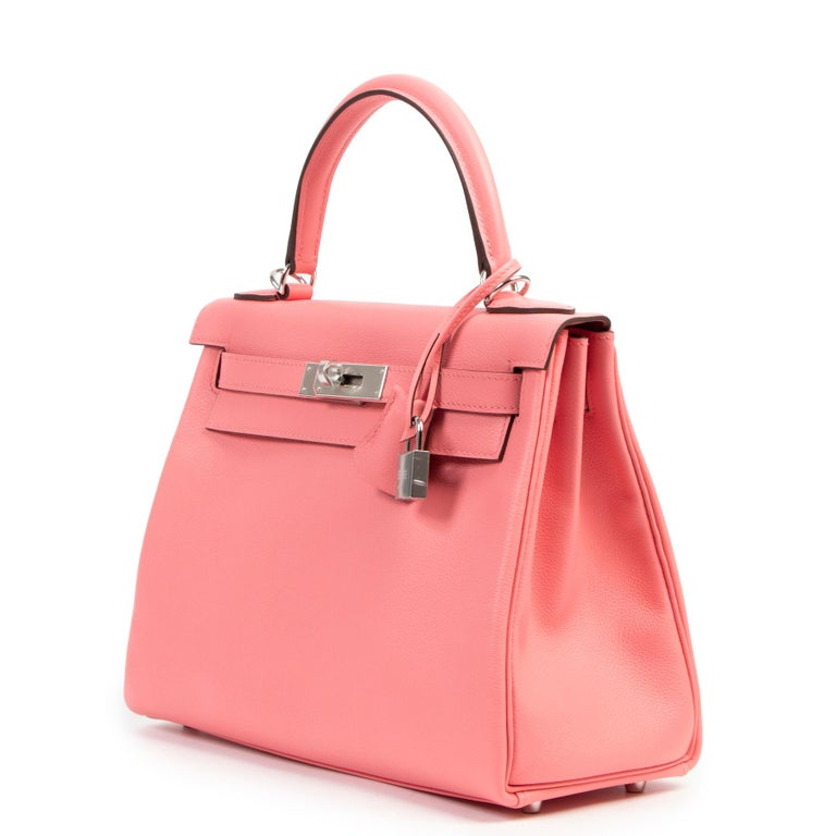 Never Used Hermes Kelly 28 Rose D'été & Rouge Exotique Lining PHW In New Condition For Sale In Antwerp, BE