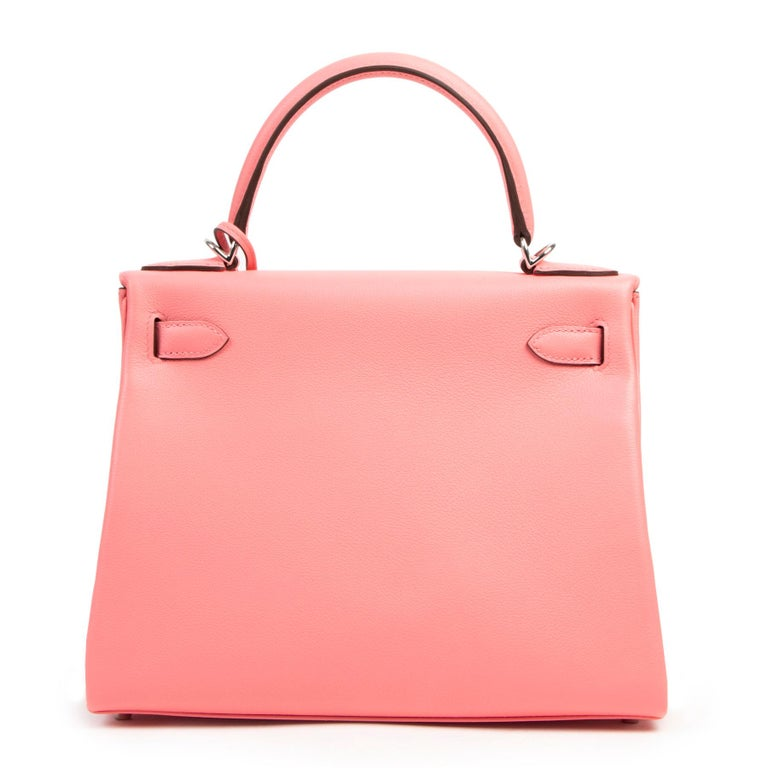 Women's or Men's Never Used Hermes Kelly 28 Rose D'été & Rouge Exotique Lining PHW For Sale