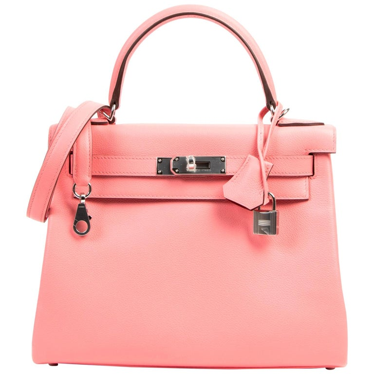 Never Used Hermes Kelly 28 Rose D'été & Rouge Exotique Lining PHW For Sale