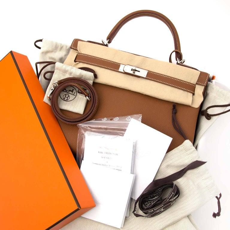 Brown Hermes 32 Togo Gold PHW Kelly Bag For Sale