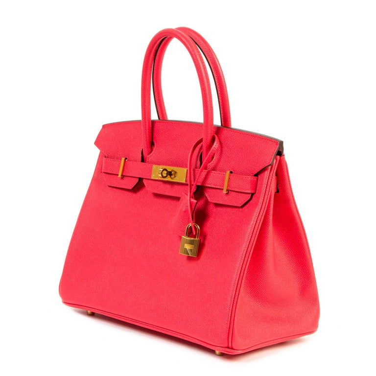 Never Used Hermes Rose Extreme Epsom Birkin 30 GHW  In New Condition For Sale In Antwerp, BE