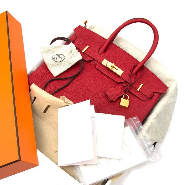 Red Hermès Birkin 30 Togo Rouge Vif GHW