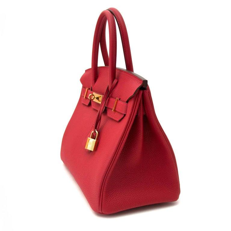 Hermès Birkin 30 Togo Rouge Vif GHW In New Condition In Antwerp, BE