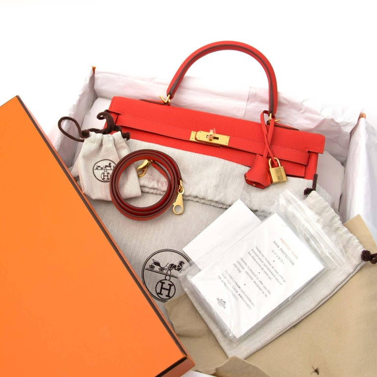 Red Hermès Kelly 35 Togo Capucine GHW Bag and Strap For Sale