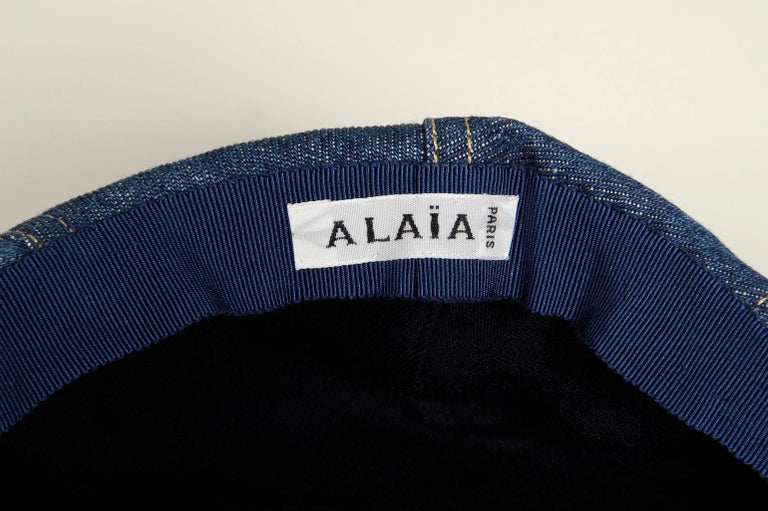 Never Worn Alaïa Denim Cap, Spring-Summer 1991 For Sale 12