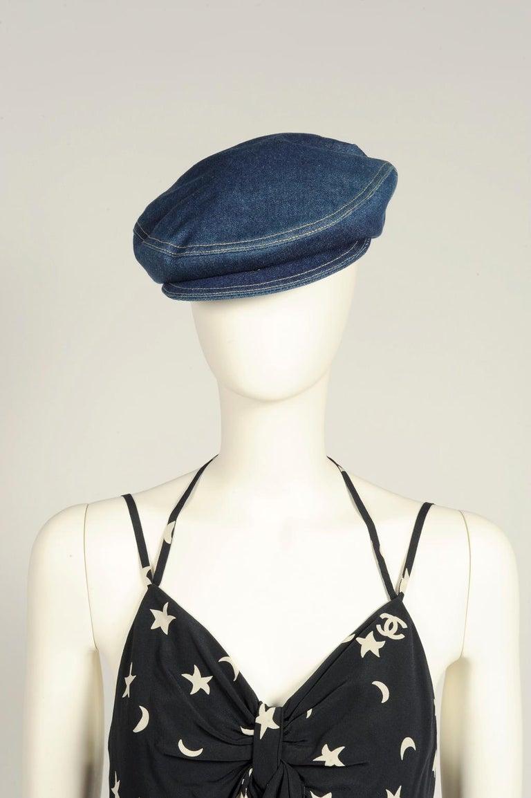 Women's or Men's Never Worn Alaïa Denim Cap, Spring-Summer 1991 For Sale