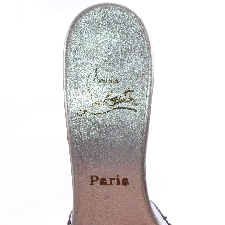 Never Worn Christian Louboutin Shoes Clear Open Toe Slides w Silver Studs Sz 39 For Sale 7