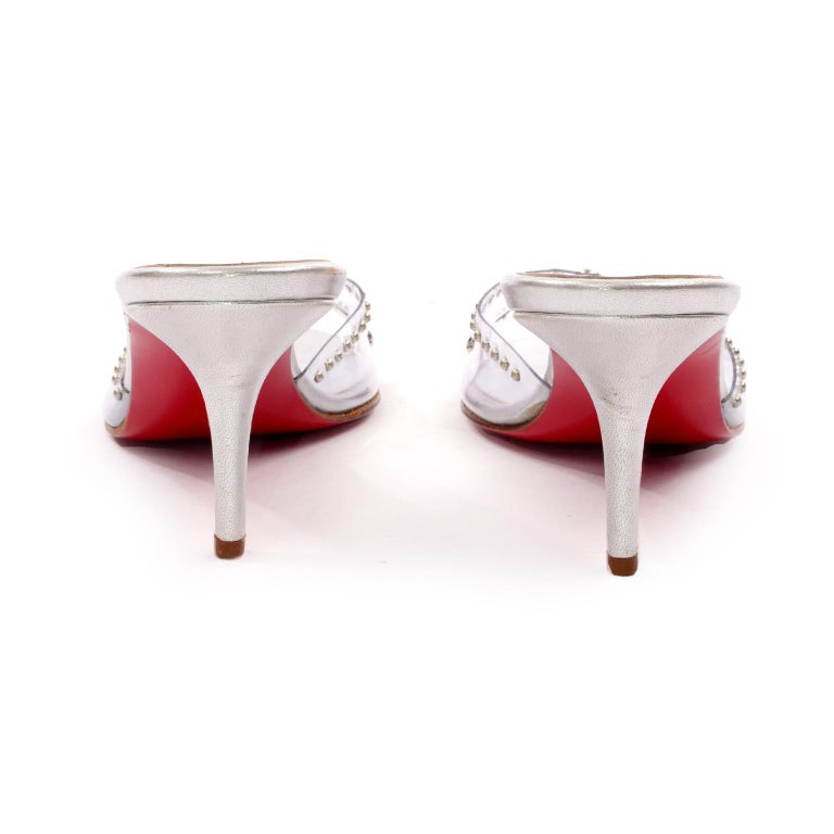 Never Worn Christian Louboutin Shoes Clear Open Toe Slides w Silver Studs Sz 39 For Sale 1