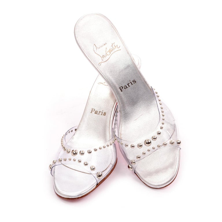 Never Worn Christian Louboutin Shoes Clear Open Toe Slides w Silver Studs Sz 39 For Sale 3