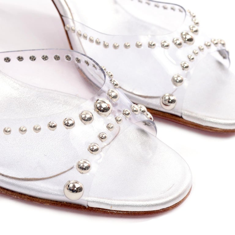 Never Worn Christian Louboutin Shoes Clear Open Toe Slides w Silver Studs Sz 39 For Sale 4