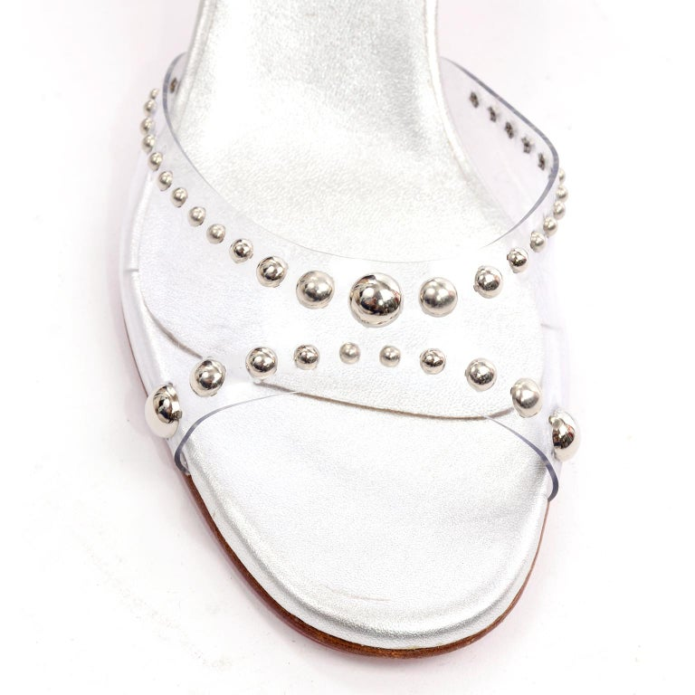 Never Worn Christian Louboutin Shoes Clear Open Toe Slides w Silver Studs Sz 39 For Sale 5