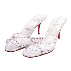 Never Worn Christian Louboutin Shoes Clear Open Toe Slides w Silver Studs Sz 39