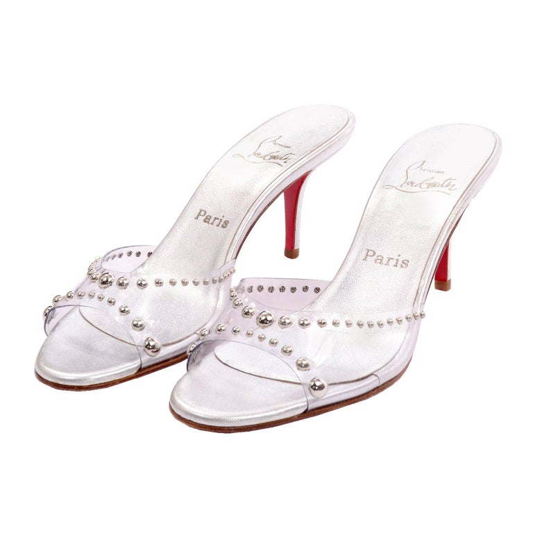 Never Worn Christian Louboutin Shoes Clear Open Toe Slides w Silver Studs Sz 39 For Sale