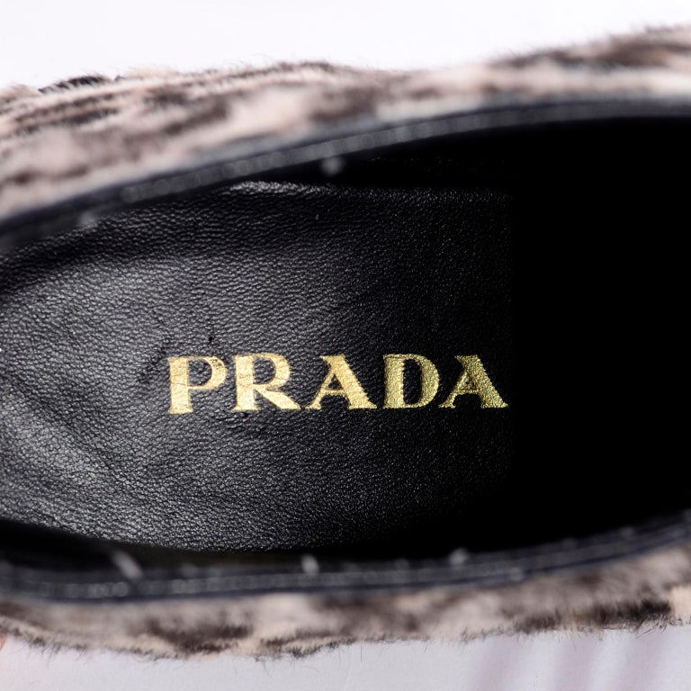 Never Worn Prada Leopard Print Pony Hair Ankle Shoes or Booties With Laces Sz 38 For Sale 7