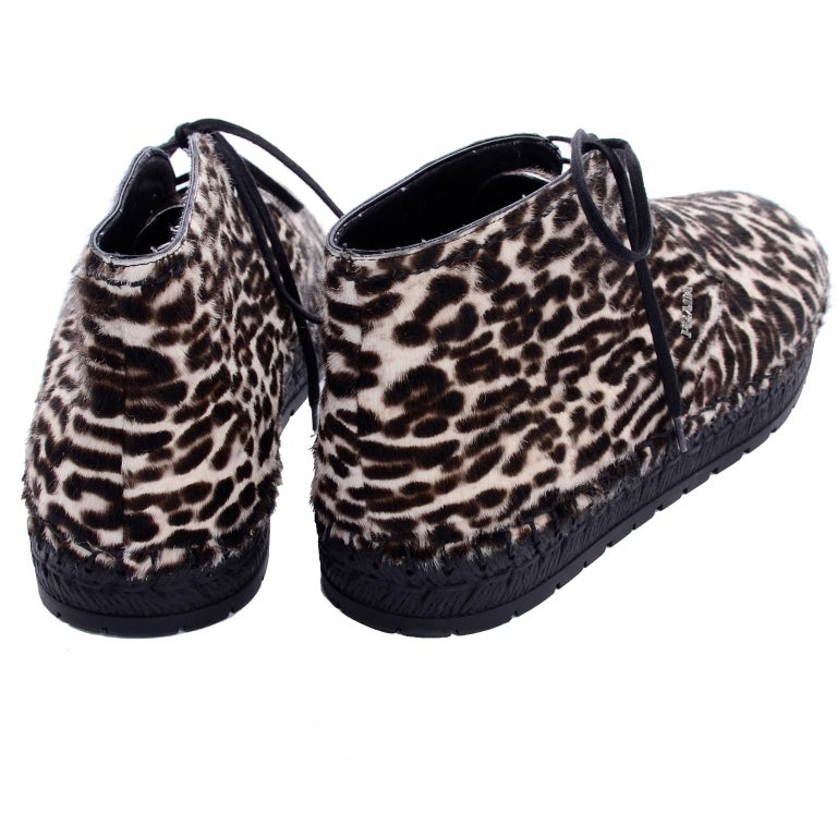 Black Never Worn Prada Leopard Print Pony Hair Ankle Shoes or Booties With Laces Sz 38 For Sale