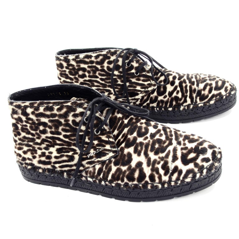 Never Worn Prada Leopard Print Pony Hair Ankle Shoes or Booties With Laces Sz 38 In New Condition For Sale In Portland, OR