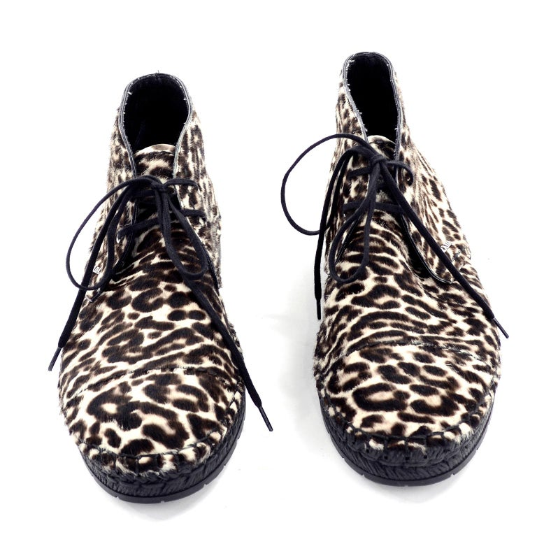 Women's Never Worn Prada Leopard Print Pony Hair Ankle Shoes or Booties With Laces Sz 38 For Sale