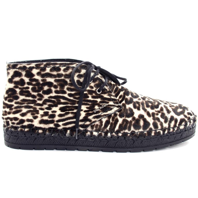 Never Worn Prada Leopard Print Pony Hair Ankle Shoes or Booties With Laces Sz 38 For Sale 1