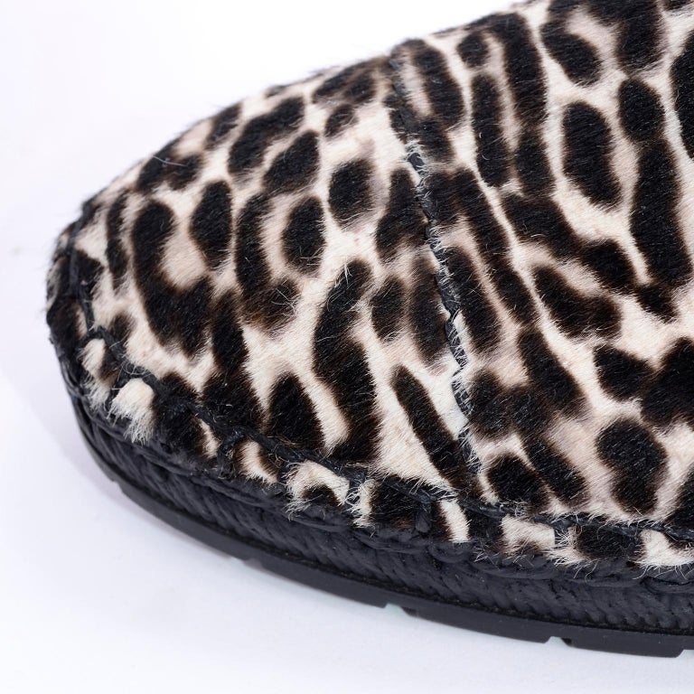Never Worn Prada Leopard Print Pony Hair Ankle Shoes or Booties With Laces Sz 38 For Sale 2