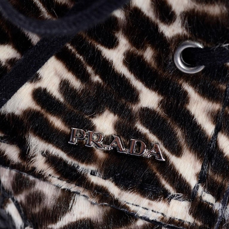 Never Worn Prada Leopard Print Pony Hair Ankle Shoes or Booties With Laces Sz 38 For Sale 3