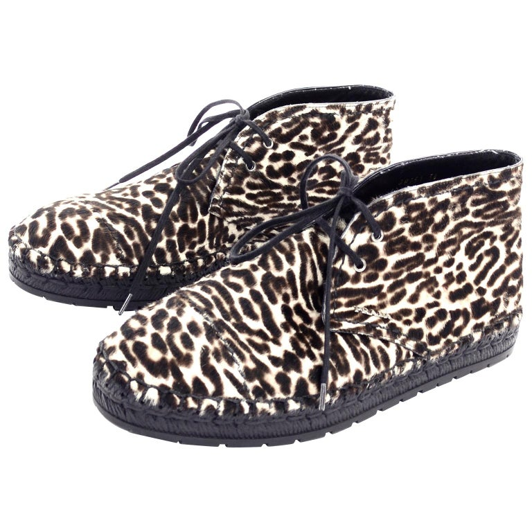 Never Worn Prada Leopard Print Pony Hair Ankle Shoes or Booties With Laces Sz 38 For Sale