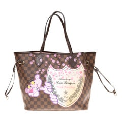 "Neverfull MM handbag canvas with pouch customized ""Pink Panther&Bubbles"""