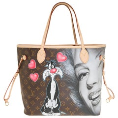 "Neverfull MM handbag in Monogram canvas customized ""In Love with Marilyn"""