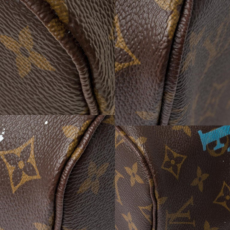 Neverfull MM handbag in Monogram canvas with pouch customized