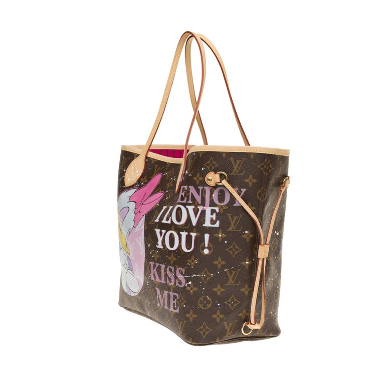 Brown Neverfull MM handbag in Monogram canvas with pouch customized