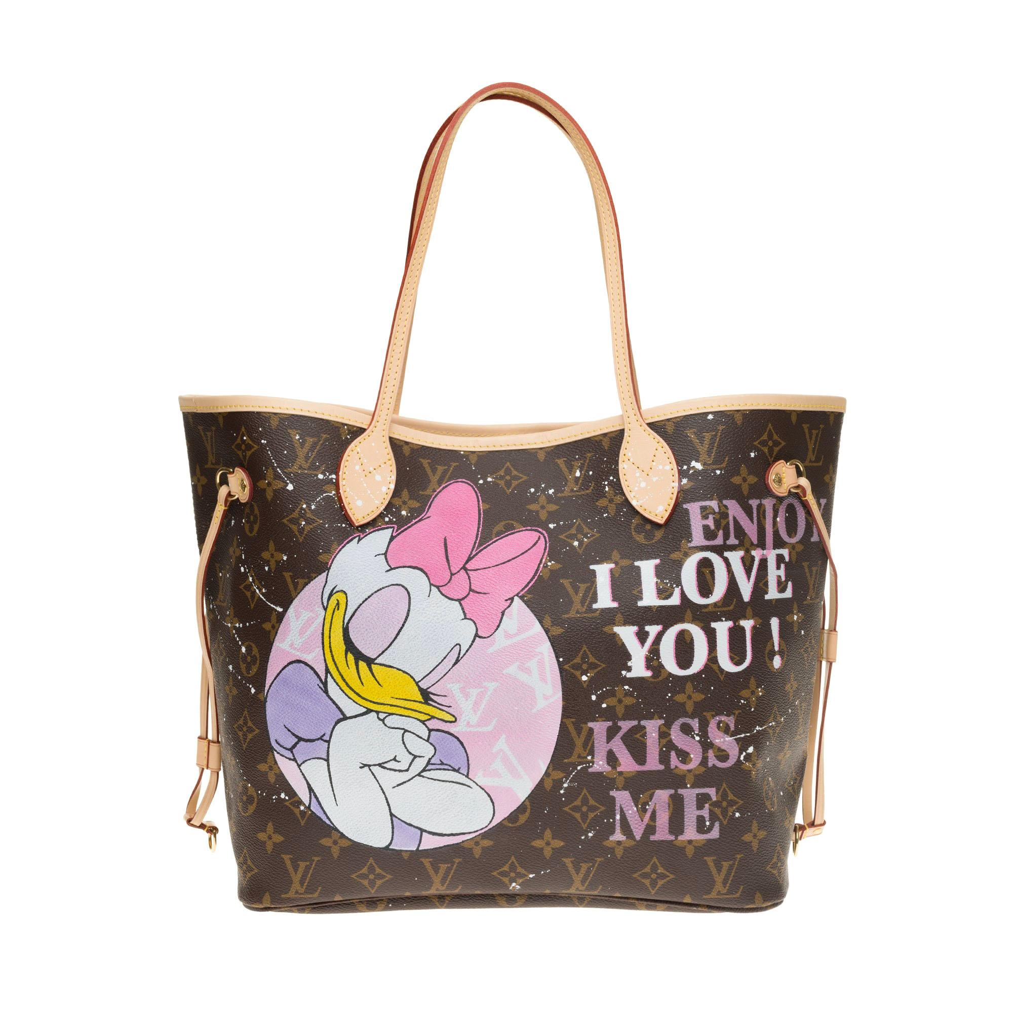 """Neverfull MM handbag in Monogram canvas with pouch customized """"My Daily Mood"""""""