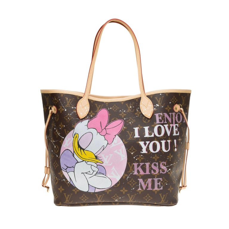"""Neverfull MM handbag in Monogram canvas with pouch customized """"My Daily Mood"""" For Sale"""