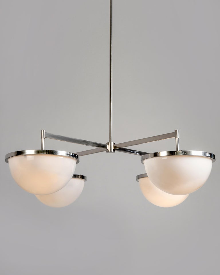 Modern Nevins 14 Chandelier with Four Milk Glass Domes in Nickel by Remains Lighting For Sale