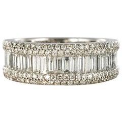 1.28 Carat Baguette Diamond 18 Karat White Gold Band Ring