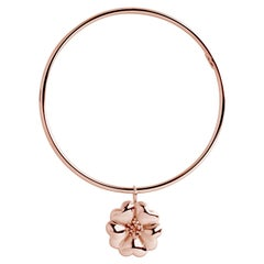 New 14 Karat Rose Gold Vermeil Blossom Dangle Bangle Bracelet