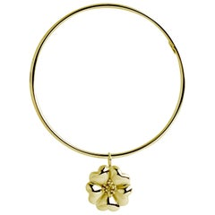 New 14 Karat Yellow Gold Vermeil Blossom Dangle Bangle Bracelet