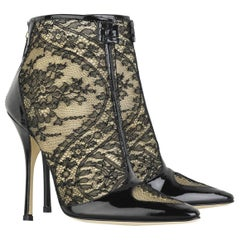 New $1450 Roberto Cavalli Black Lace Patent Leather Ankle Boots It. 38 - US 8