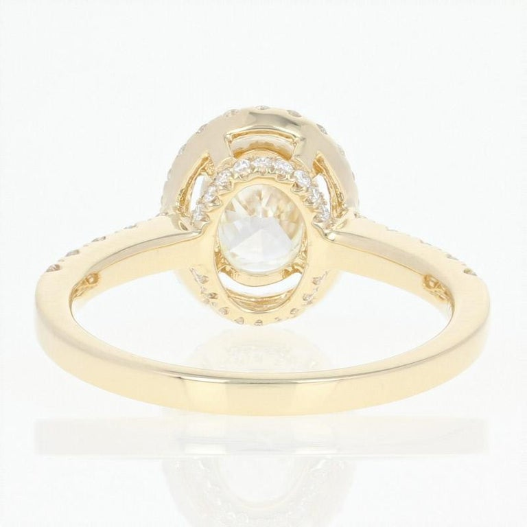 1.47 Carat Oval Cut Diamond Engagement Ring, 14 Karat Yellow Gold GIA Halo For Sale 2