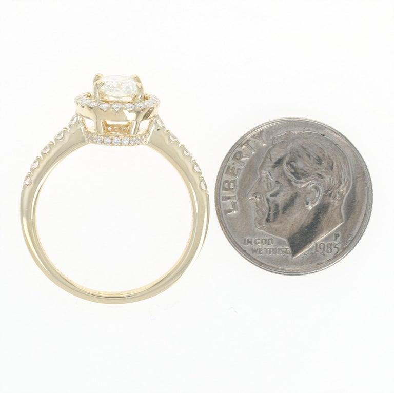 1.47 Carat Oval Cut Diamond Engagement Ring, 14 Karat Yellow Gold GIA Halo For Sale 3