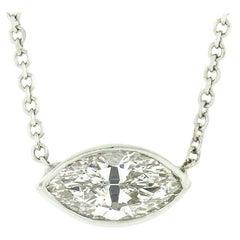 New 14K Gold .86ct GIA Marquise Bezel F VVS2 Diamond Solitaire Pendant Necklace