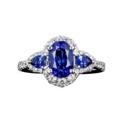 New 14K White Gold 2.23 Carat Oval Sapphire and Diamond Ring GIA Certified