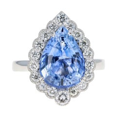 New 14K White Gold 5.90 Carat Natural Ceylon Sapphire and Diamond Ring