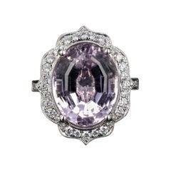 New 14k White Gold Kunzite and Diamond Statement Ring