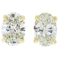 New 14k Yellow Gold 1.10ctw GIA Oval Brilliant Cut Prong Diamond Stud Earrings