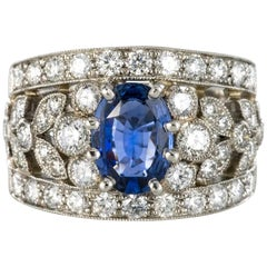 New 1.50 Carat Diamond 1.55 Carat Sapphire Platinum Band Ring